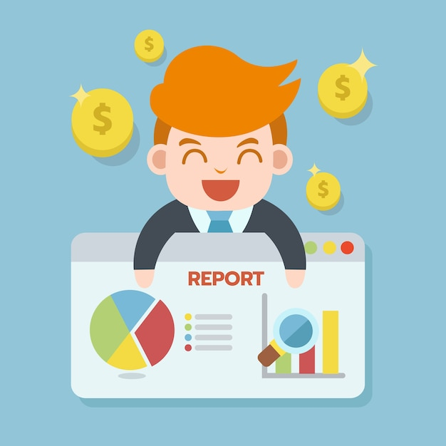 Businessman reporting on web browser presentation with money coin and chart icon Premium Vector