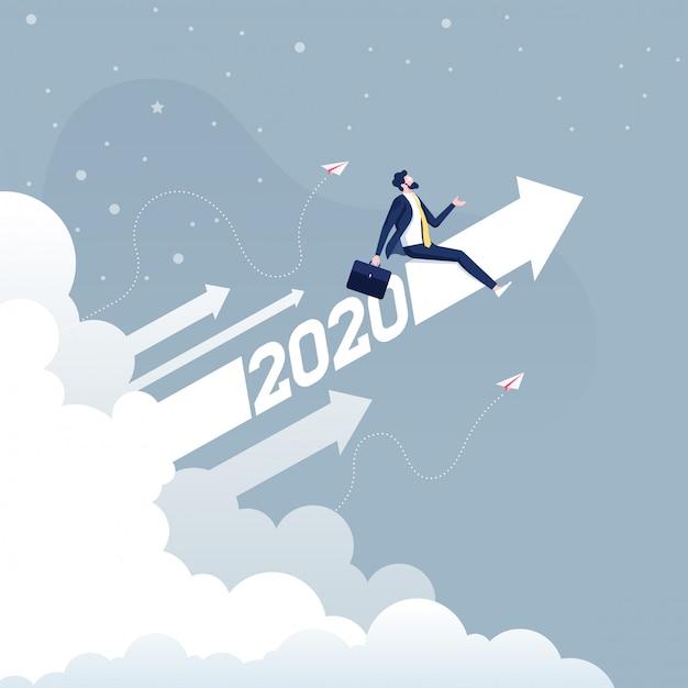ビジネスコンセプトに上がって2020矢印に乗るビジネスマン Premiumベクター