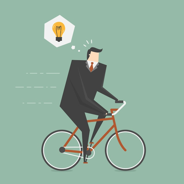 Businessman riding a bike Free Vector