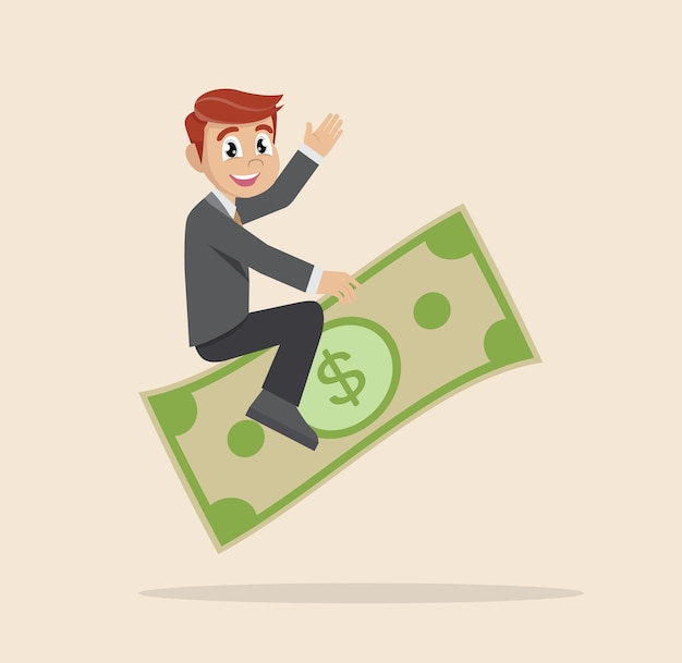 Businessman riding flying money. Premium Vector