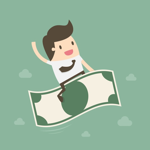 Businessman riding a note Free Vector