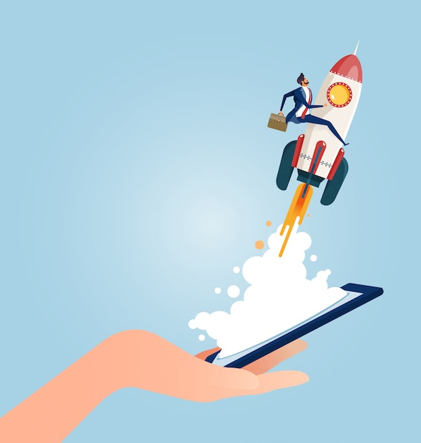 Businessman riding a rocket launching from smart phones Premium Vector