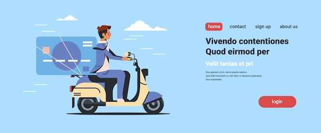 Businessman riding scooter with credit card online banking electronic payment Premium Vector