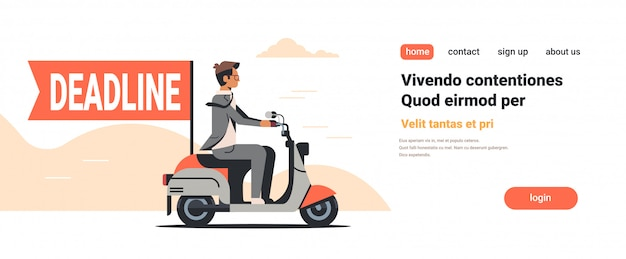 Businessman riding scooter with deadline flag time management Premium Vector