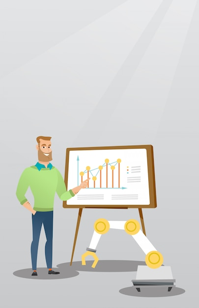 Businessman and robot giving business presentation Premium Vector