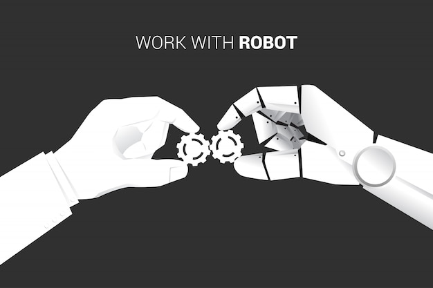 Businessman and robot hand put gear to fit together. Premium Vector