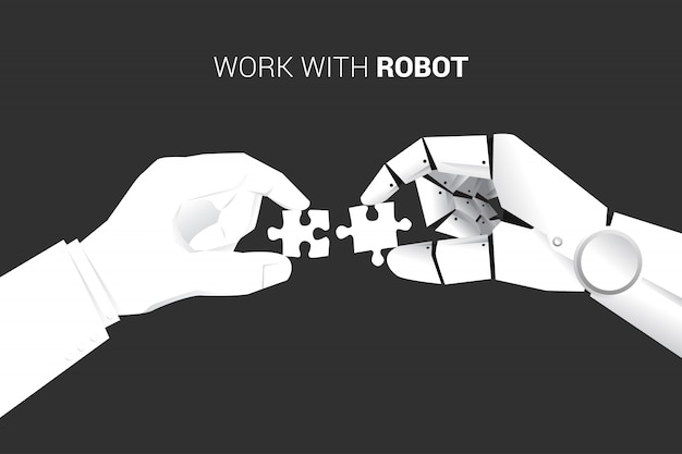 Businessman and robot put jigsaw piece to fit together. Premium Vector