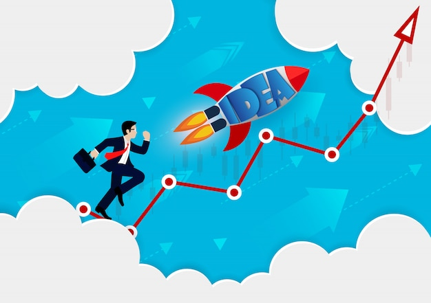 Businessman and rocket run on red arrow go to the goal Premium Vector