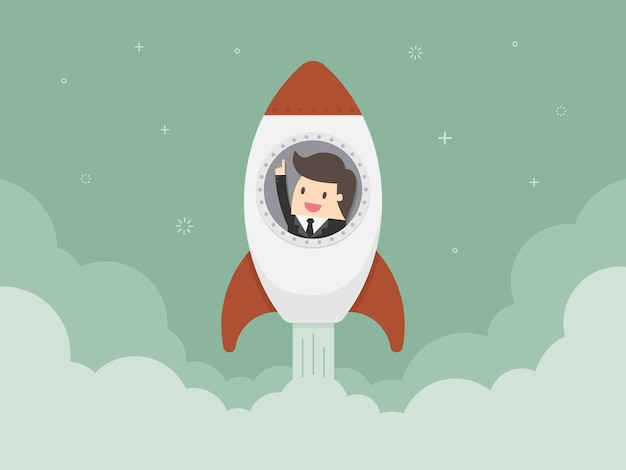 Businessman in a rocket Free Vector