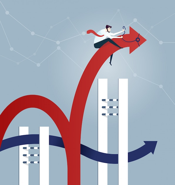 Businessman rodeo arrow jumping over hurdle - business concept Premium Vector
