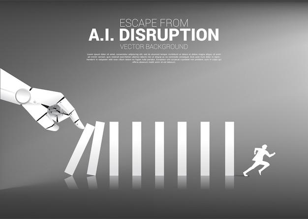 Businessman run away from domino effect from robot hand. Premium Vector