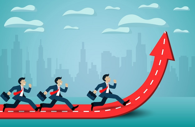 Businessman run competition on arrow red and white. go to success goal. Premium Vector