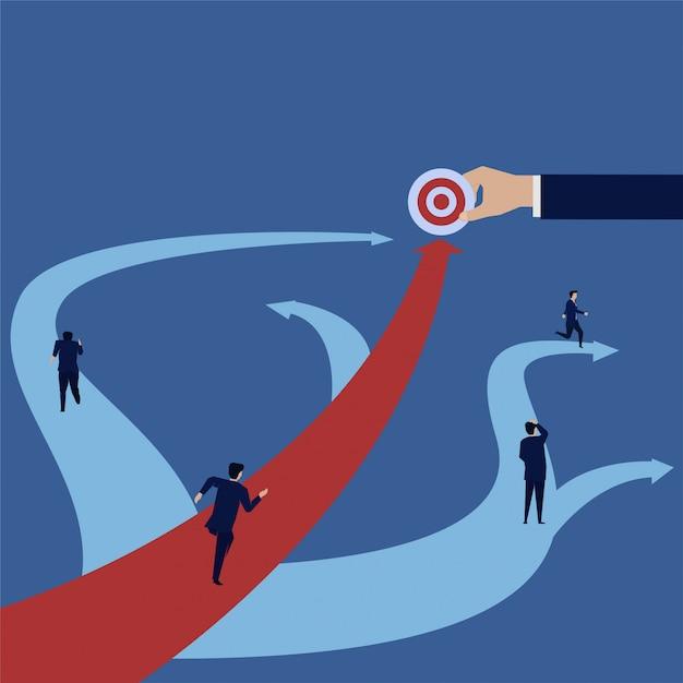 Businessman run forward straight to target when others turns around. Premium Vector