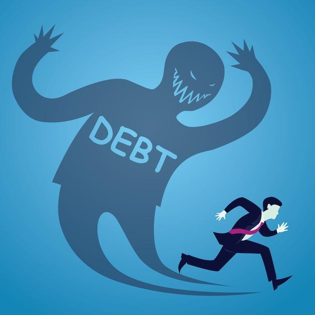 Businessman run from debt Premium Vector