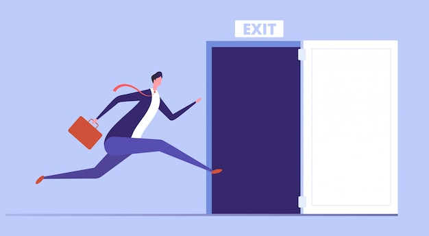 Businessman run to open exit door. emergency escape and evacuation from office  business concept Premium Vector