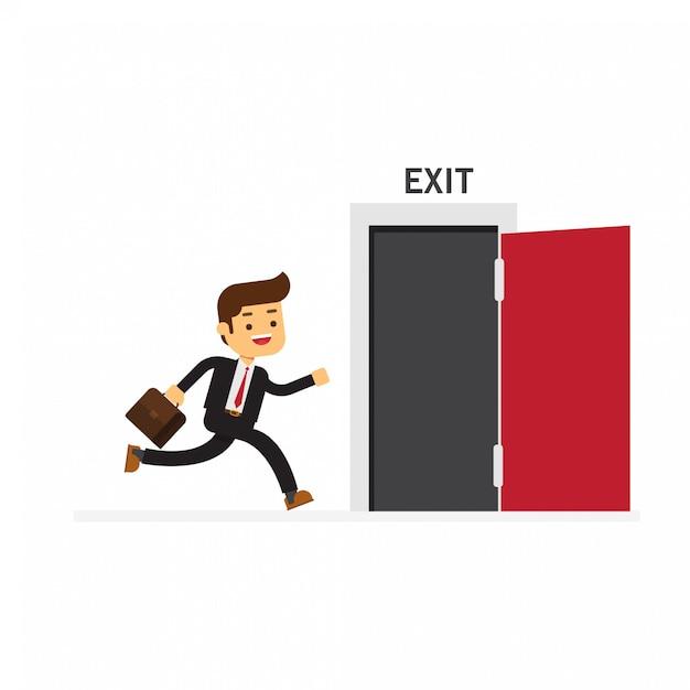 Businessman run to open exit door Premium Vector