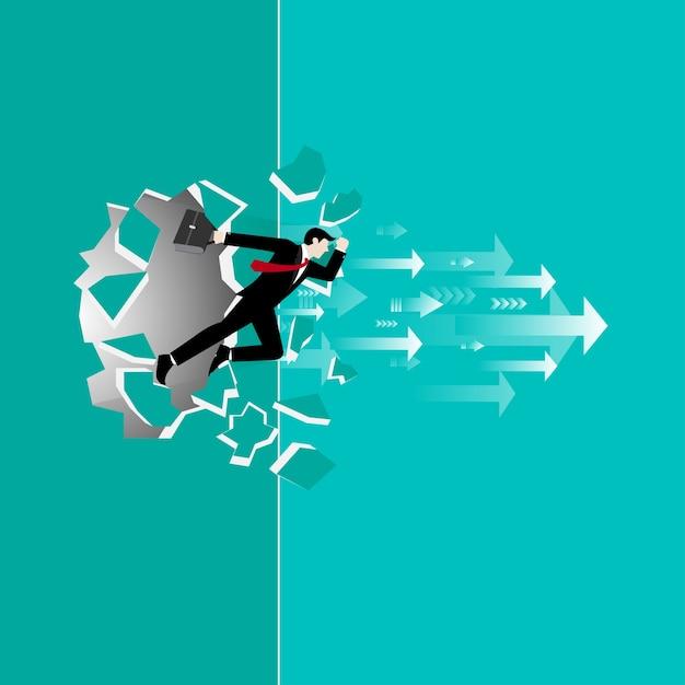 Businessman run through the wall Premium Vector