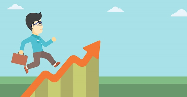 Businessman running along the growth graph. Premium Vector