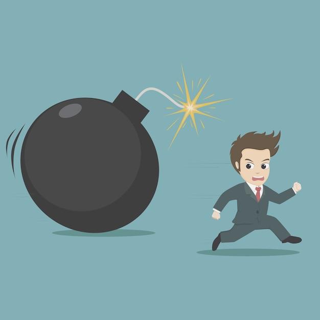 Businessman running away from big bomb.cartoon business concept. Premium Vector