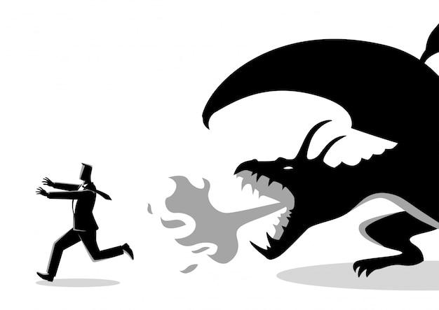 Businessman running away from a dragon Premium Vector