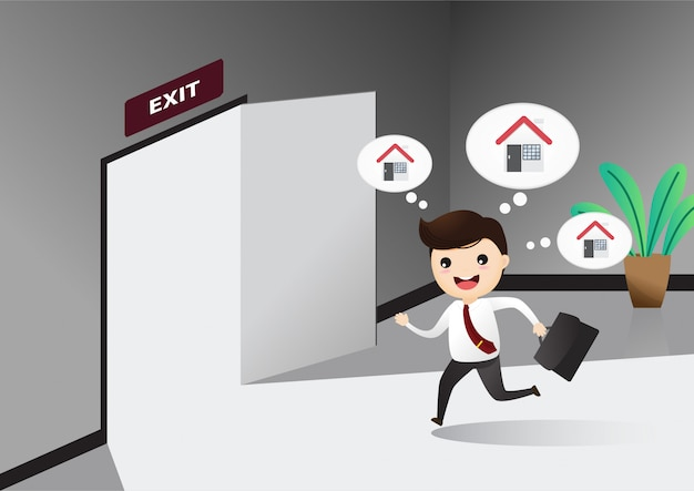 Businessman running exit door sign he get off work. Premium Vector