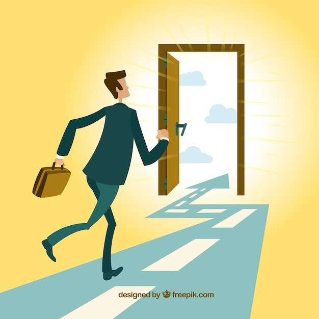 Businessman running to the exit door Free Vector