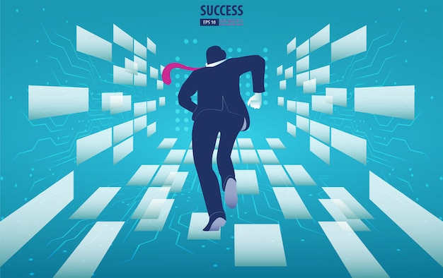 Businessman running to the future. catch the opportunity.  background vector illustration Premium Vector