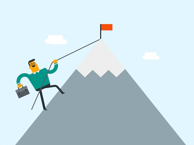 Businessman running to his business goal. Premium Vector