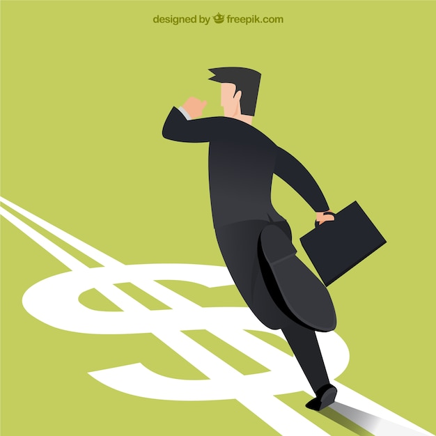 Businessman running in money direction Free Vector