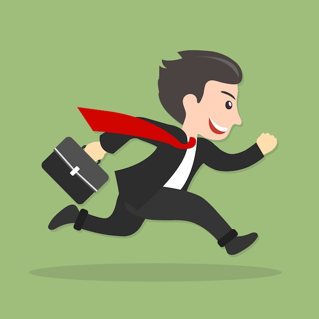 Businessman running, late for work Free Vector