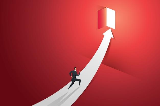 矢印で実行されているビジネスマンは、光の滝で赤い壁のドアに行きます。図 Premiumベクター