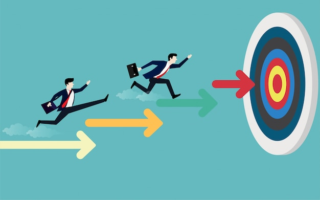 Businessman running on stairs arrow pointing to the target Premium Vector