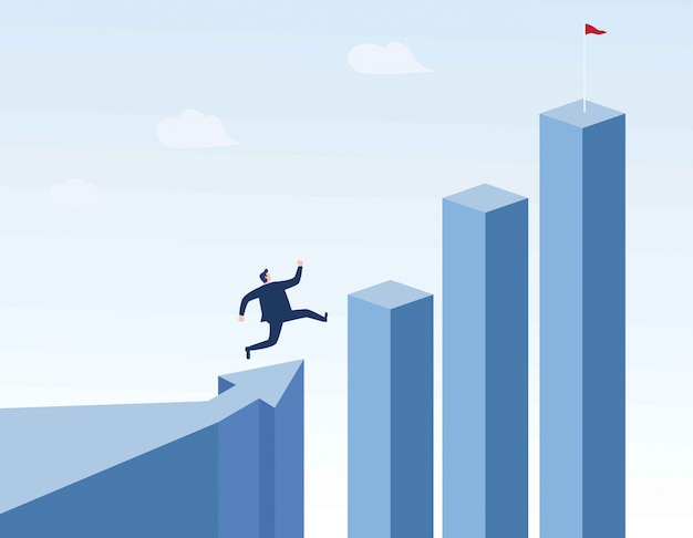 Businessman running to the top of the graph. Premium Vector
