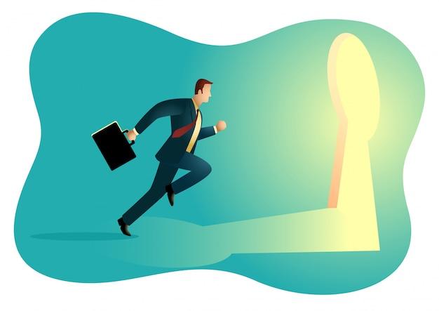 Businessman running towards a key hole Premium Vector