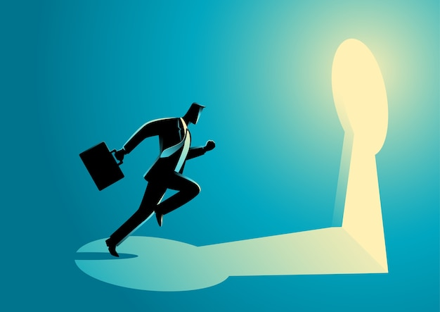 Businessman running towards a key hole Premium Vector
