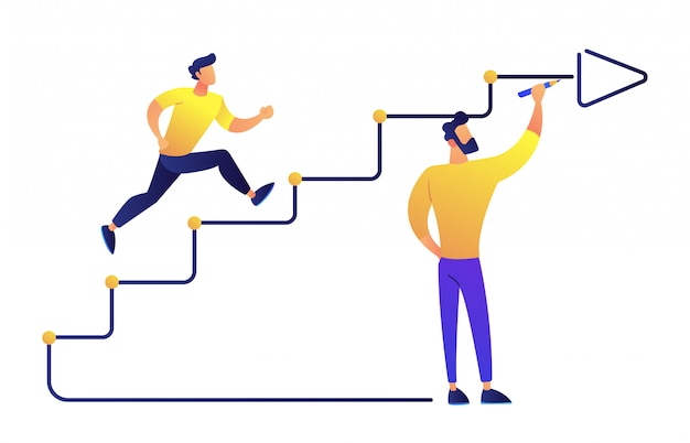 Businessman running up drawn stairs with arrow vector illustration. Premium Vector