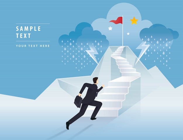 Businessman running up stairway to the red flag on mountain Premium Vector