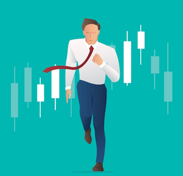 Businessman running with candlestick chart background Premium Vector