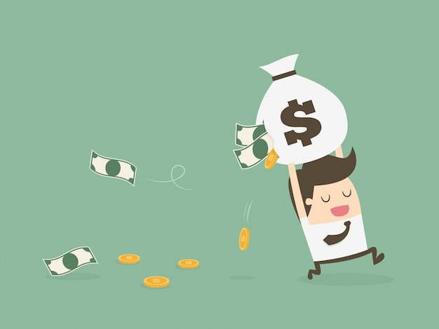 Businessman running with money Free Vector