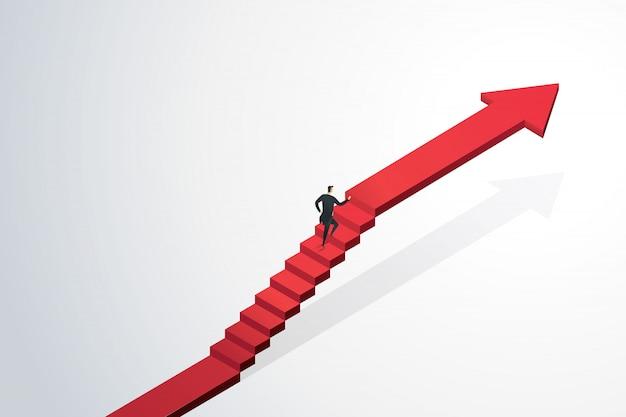 ターゲットの目標と成功への階段の矢印を急いで実業家。事業コンセプト Premiumベクター