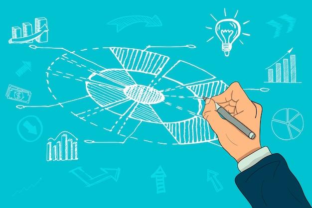 A businessman's hand draws a circular chart Premium Vector