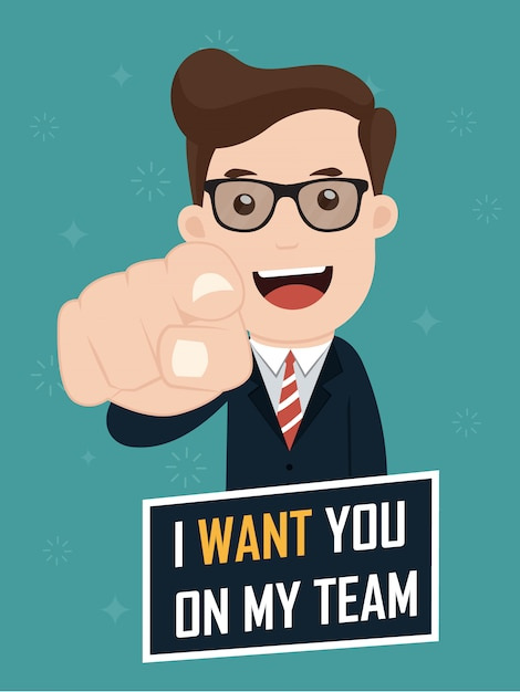 Businessman saying i want you on my team. Premium Vector