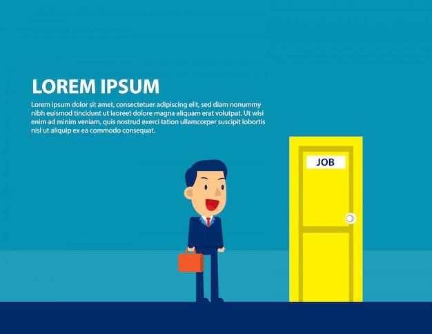 Businessman searching for job Premium Vector