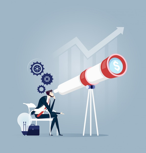 Businessman searching smart vision for good future - business concept Premium Vector