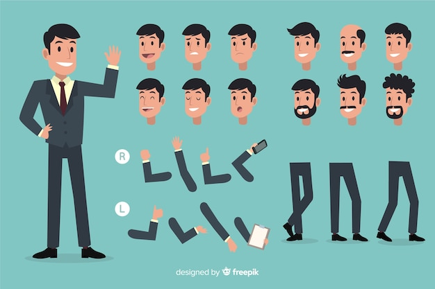 Businessman set with different postures Free Vector
