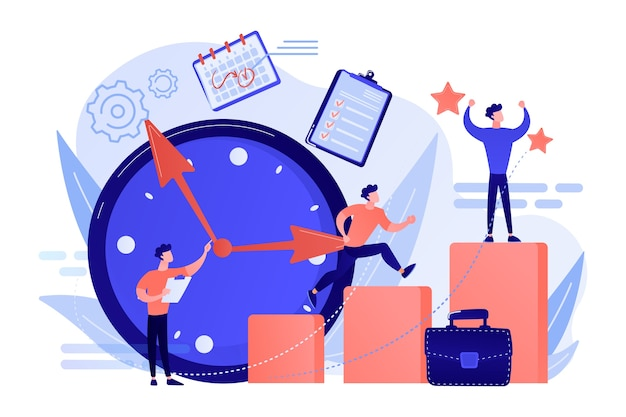 Businessman sets goals and runs up on graph columns for success on time. self-management, self regulation learning, self-organization course concept illustration Free Vector