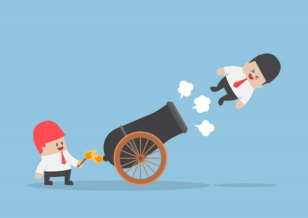 Businessman shot out from cannon Premium Vector