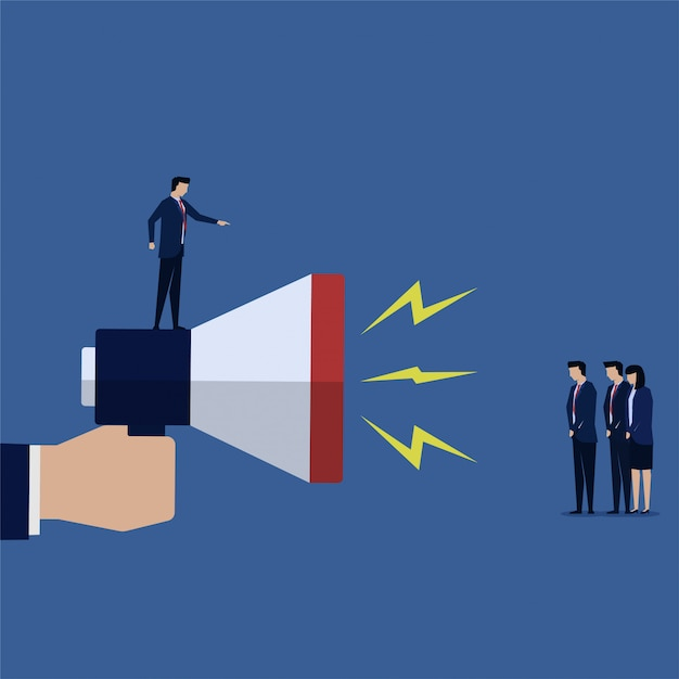 Businessman shout on team with big megaphone yelling. Premium Vector
