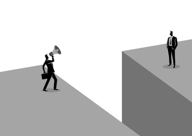 Businessman shouting to another businessman with megaphone Premium Vector