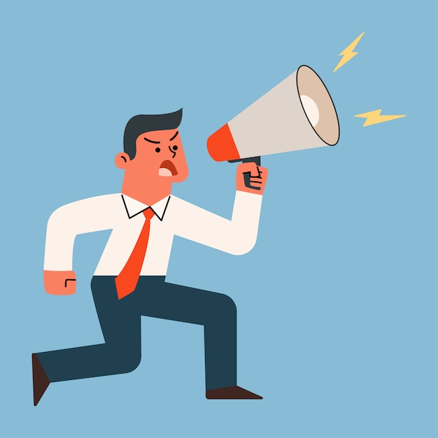 Businessman shouting and screaming with megaphone, vector cartoon illustration. Premium Vector